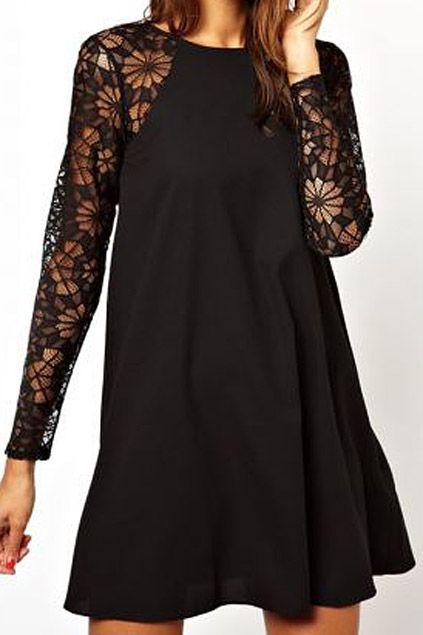 Panel Hollowed Lace Crochet Black Umbrella Dress Platya Malenkoe Chernoe Plate Modnye Obrazy