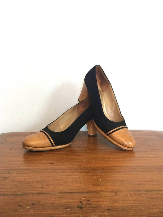15a084b6ad7 Vintage 50s 60s Two Tone Pumps   Cap Toe Black and Tan Heels ...