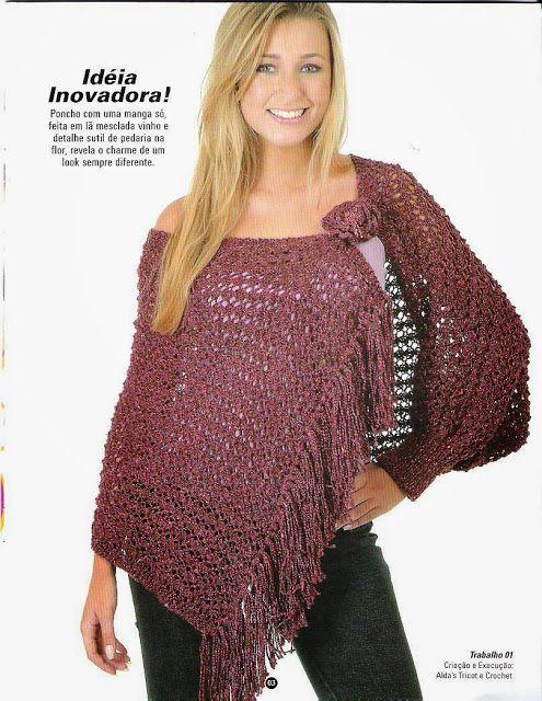 Chal Poncho con cierre en Flor Patron - Patrones Crochet | Ovillos y ...