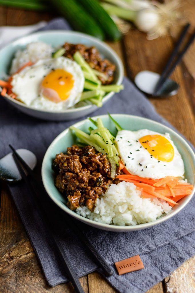 Korean Beef Bowl - Asiatisch mariniertes Fleisch mit frischem Gemüse und Reis - Ina Isst