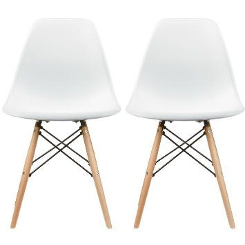 Set Of Two White Eames Style Side Chair Natural Wood Legs Eiffel Dining Room Lounge No Arm Arms Armless Less Chairs Seats Wooden Leg