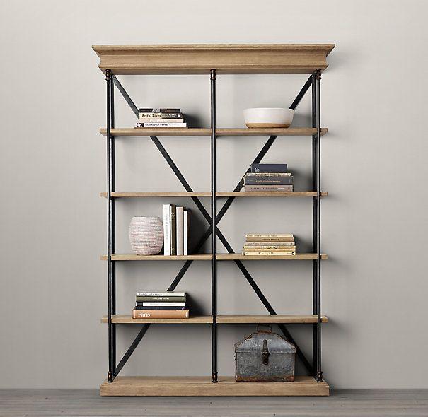 Find this Pin and more on decoracion almacen. Parisian Cornice Wide Bookcase  Restoration Hardware . - Restoration Hardware Bookshelves IDI Design