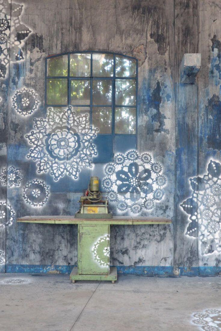 Street artist nespoonus lace murals bring a bit of harmony to the