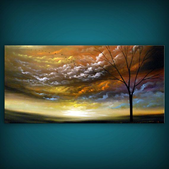 art abstract tree painting cloud art abstract large by mattsart