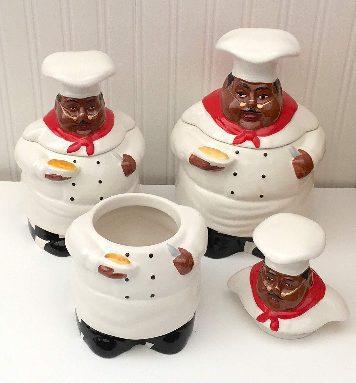 kitchen decor, african american guys, bistro black happy chef, 3pc canister set, 89029ack in