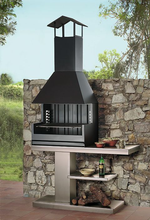 Wood barbecue metal residential palma 75 garden rocal for Barbacoas para jardin