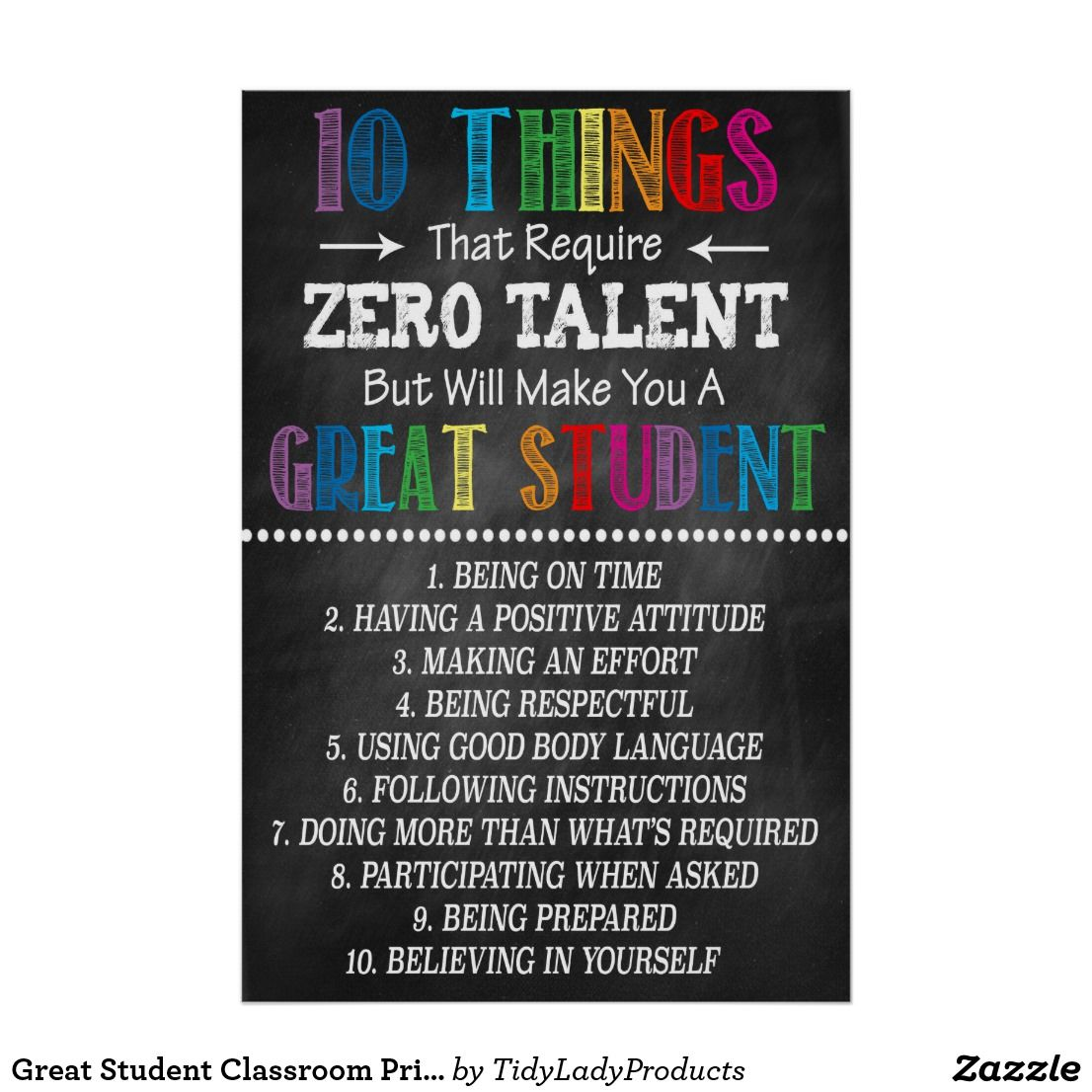 Great Student Classroom Printable Poster | Zazzle.com