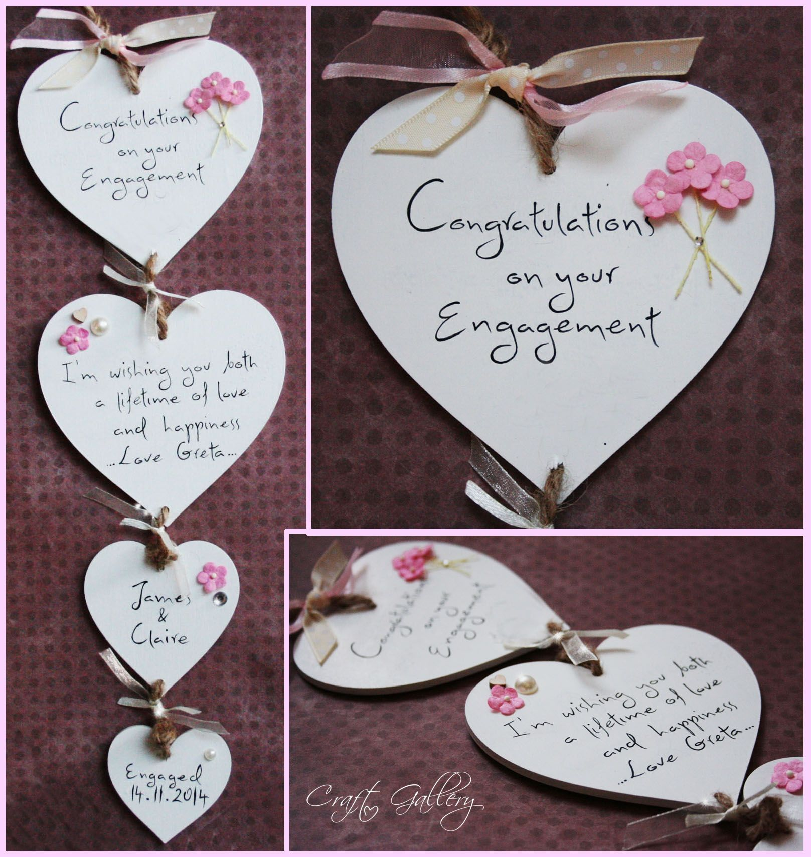 Made By Craftgallery Handmade Personalised Wooden Heart Plaque Wedding Gift In White Personalized Engagement Gifts Personalized Wedding Gifts Wooden Hearts