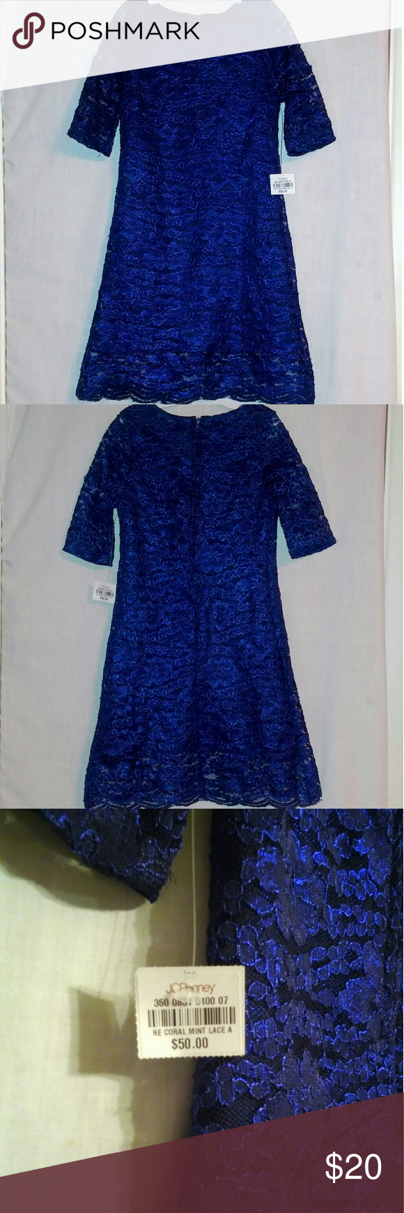 Rare editions girls size navy blue lace dress boutique navy
