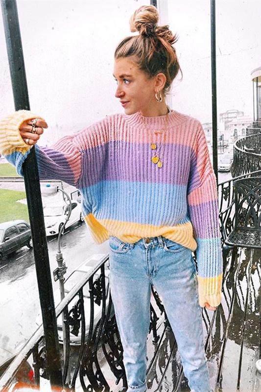 5c160eef18 Cute Color Patch Sweater Pullover in 2019 | LUPSONA'S SWEATERS ...