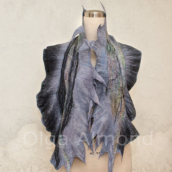 Scarf. Felted Scarf .Hand dyed.Handmade wool and by OlgaAlmond