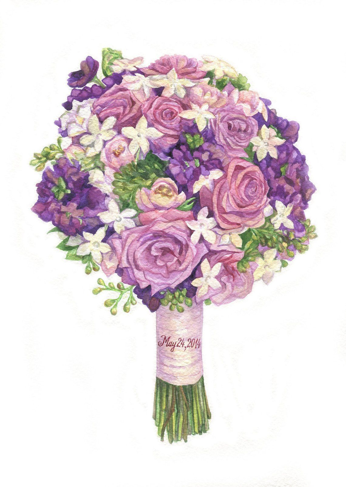 Custom wedding bouquet painting watercolor personalized