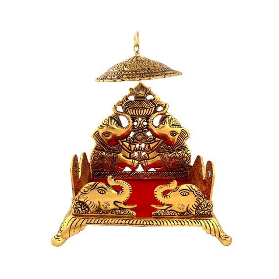 Indian Handmade Metal Laddu Gopal Sinhasan Tample GOLD Color, Temple Hindu Mandir Puja / Pooja Ghar Mandap For Worship Home Decorative item