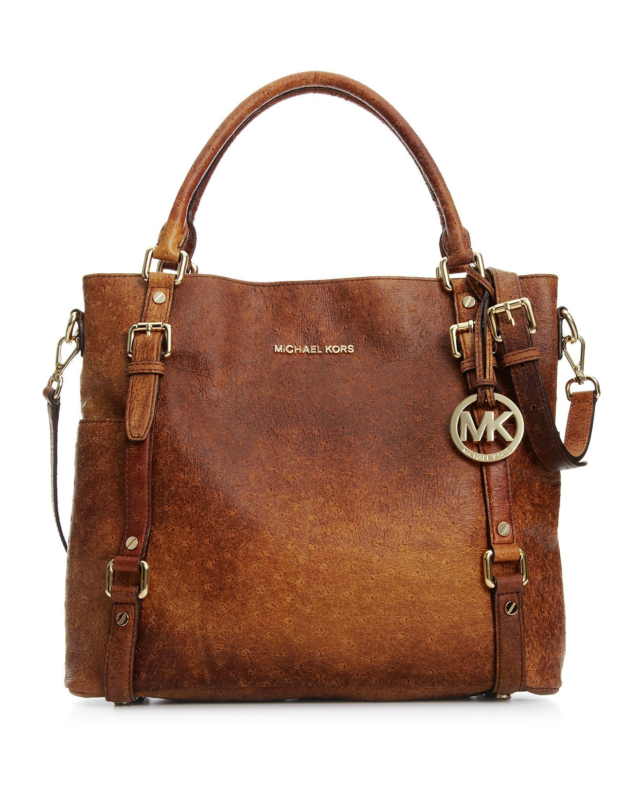 61b783b3930a Michael Kors Bedford Ostrich Tote. Nice, but why do we have to have names  on everything? Quality should speak for itself~