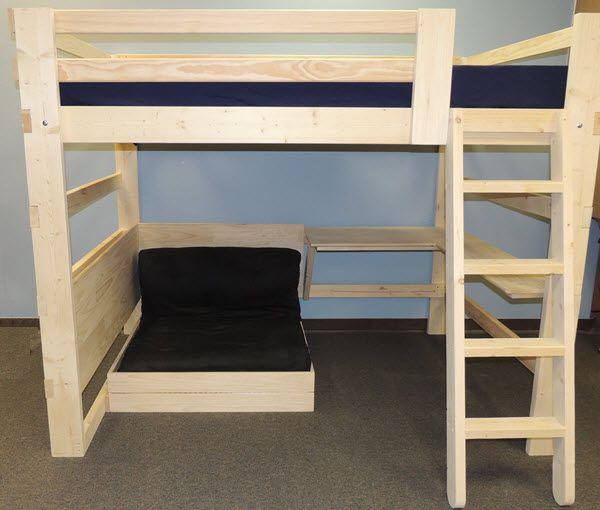 Loft bed with lower bed in the seat position.