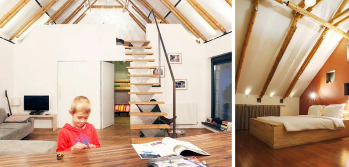 Dakconstructie gemaakt van bamboepalen - leefruimte en slaapkamer onder het dak
