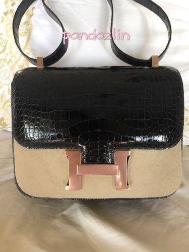 100% Authentic Hermes Constance 24 Verso Alligator Leather AB Bleu Marin   Cuiv a723d7de356ee