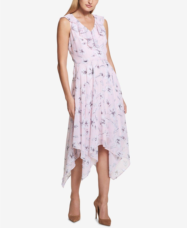 Kensie Floral Print Ruffle Handkerchief Hem Dress Women Dresses