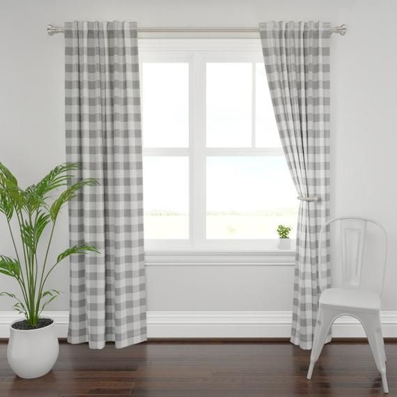 Gray Plaid Curtain Panel Grey Buffalo Check By Aacraven85