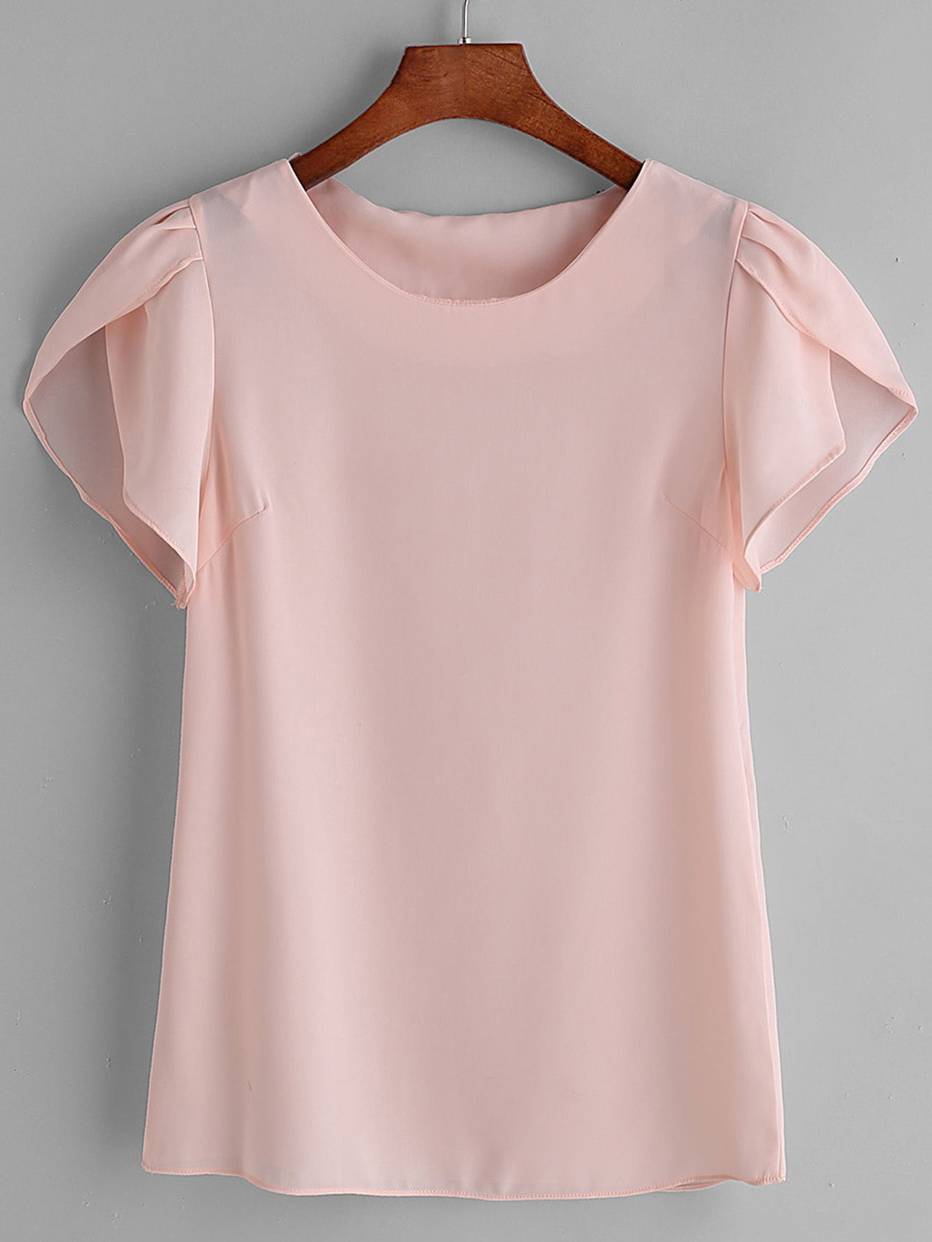57025271638a Shop Pink Pleated Cap Sleeve Chiffon Blouse online. SheIn offers ...