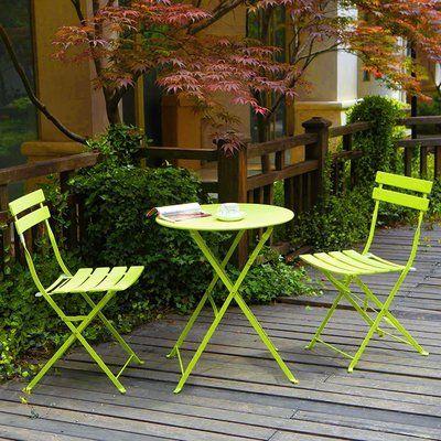 Ophelia Co Vanwyk 3 Piece Bistro Set Color Vivid Green Patio