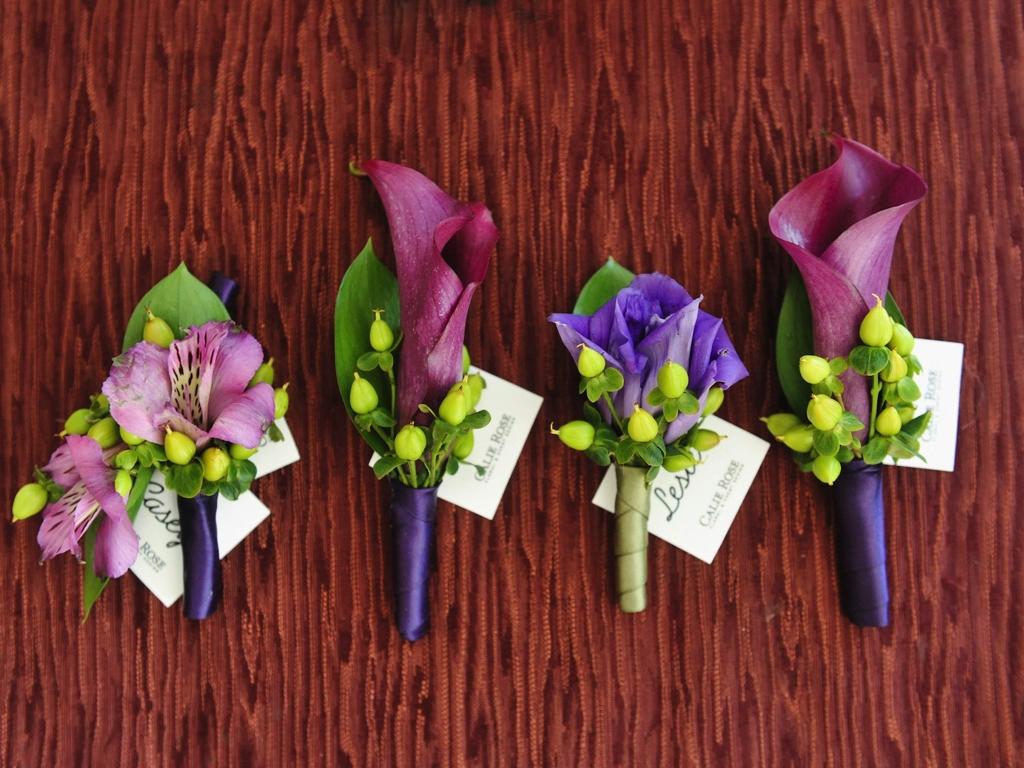 Purple Calla Lily Boutonniere Purple Lime Boutonnieres