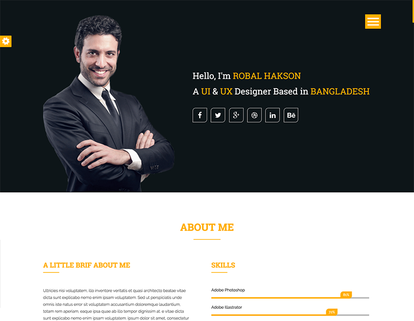 Baktigoto  Free Resume Html Template  Free Personal Templates