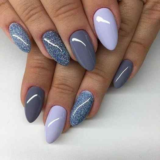 Simple Nail Designs Almond Shape In 2020 Blue Nails Trendy Nails Gel Nails