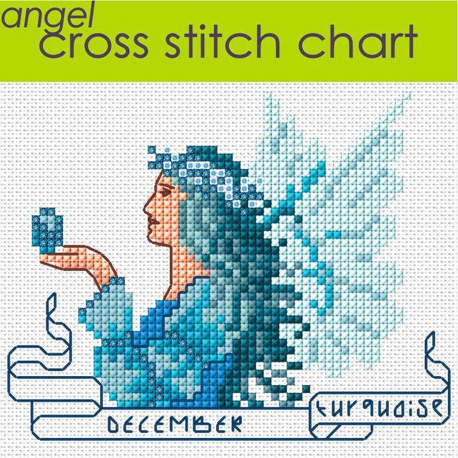 December Angel Cross Stitch Chart PDF, Turquoise
