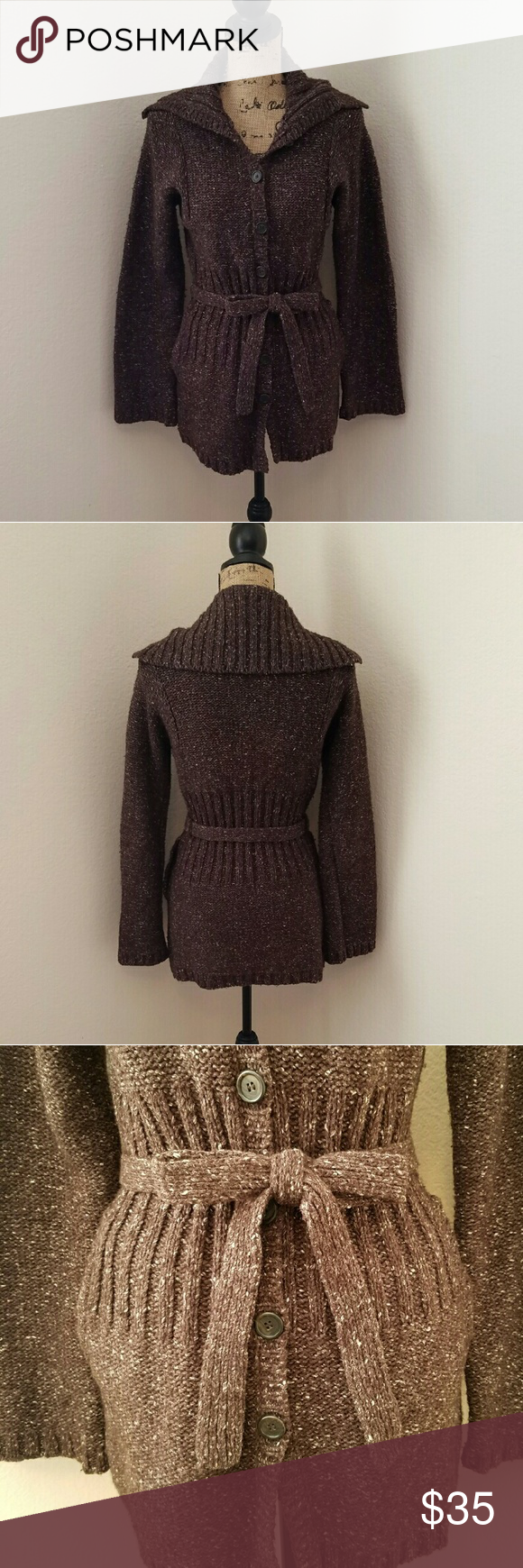 J. Crew Long Belted Cardigan Sweater! Chocolate brown sweater with ...