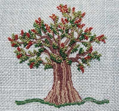 Mary Corbet: Hand Embroidered Tree made with silk gimp and silk-wrapped purl (Needle n Thread)