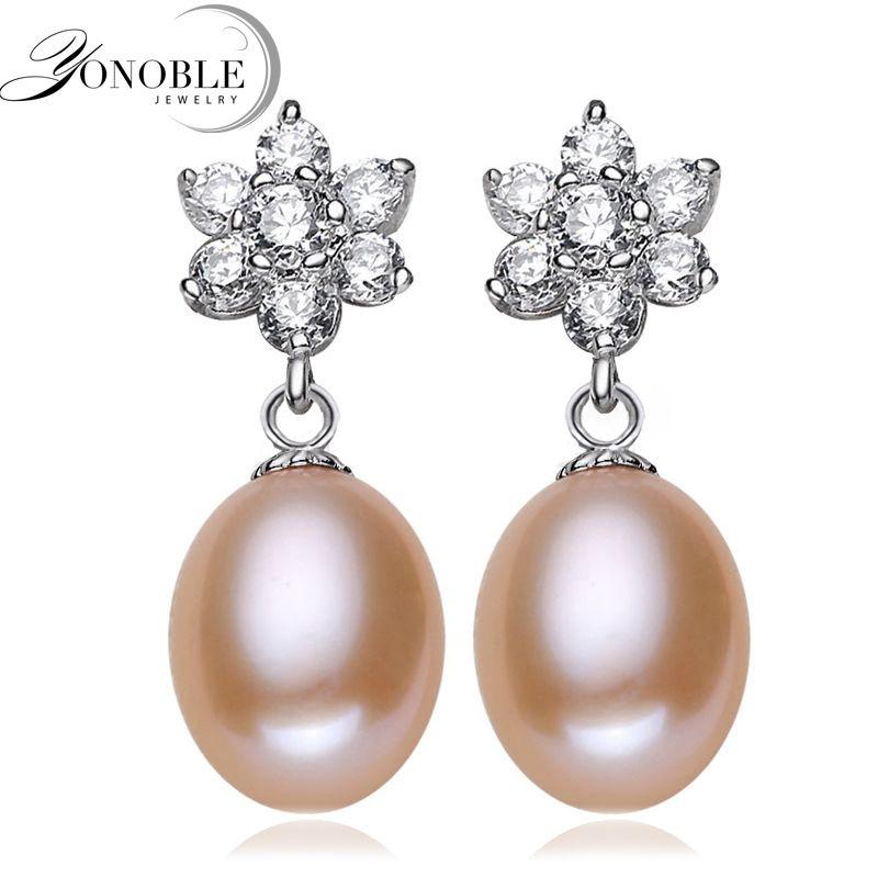 YONOBLE Moda Bianco reale Naturale di acqua Dolce Orecchino di Perla 925 gioielli in argento sterling Regalo di compleanno donne brincos perolas