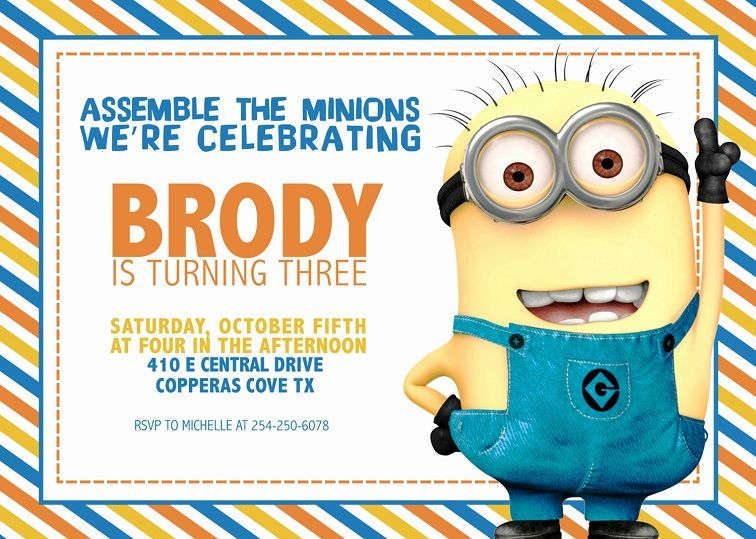 picture regarding Minions Invitations Printable known as free of charge editable minion birthday invites Occasion Invitation