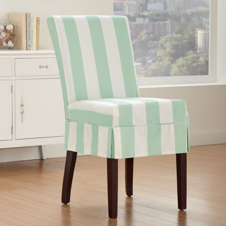 Dining Room Chair Skirts tropical light blue and white striped patterned chairs slipcovers