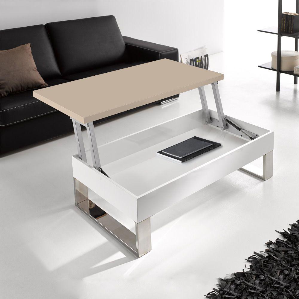 Chic Adjustable Storage Coffee Table White Hardwood Base Soft Brown Table Top Chic Adjustable Stor Muebles Multifuncionales Planos De Muebles Diseno De Muebles [ jpg ]
