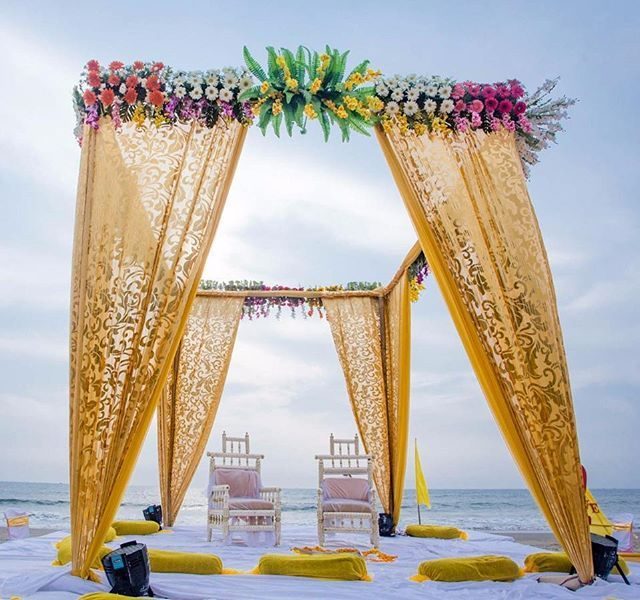 #ProTip Use textured drapes on your Mandap for a dreamier effect at your beach wedding!  Photo: @cameracrew.in  #weddingdecor #weddingdecoration #weddingmandap #mandap #mandapdecor #indianwedding #weddingphotography #weddings #beach #beachwedding #weddingz #weddinginspiration #instalove #instalike #instawedding #instalike #instagood #instadecor #instahappy #instabeache