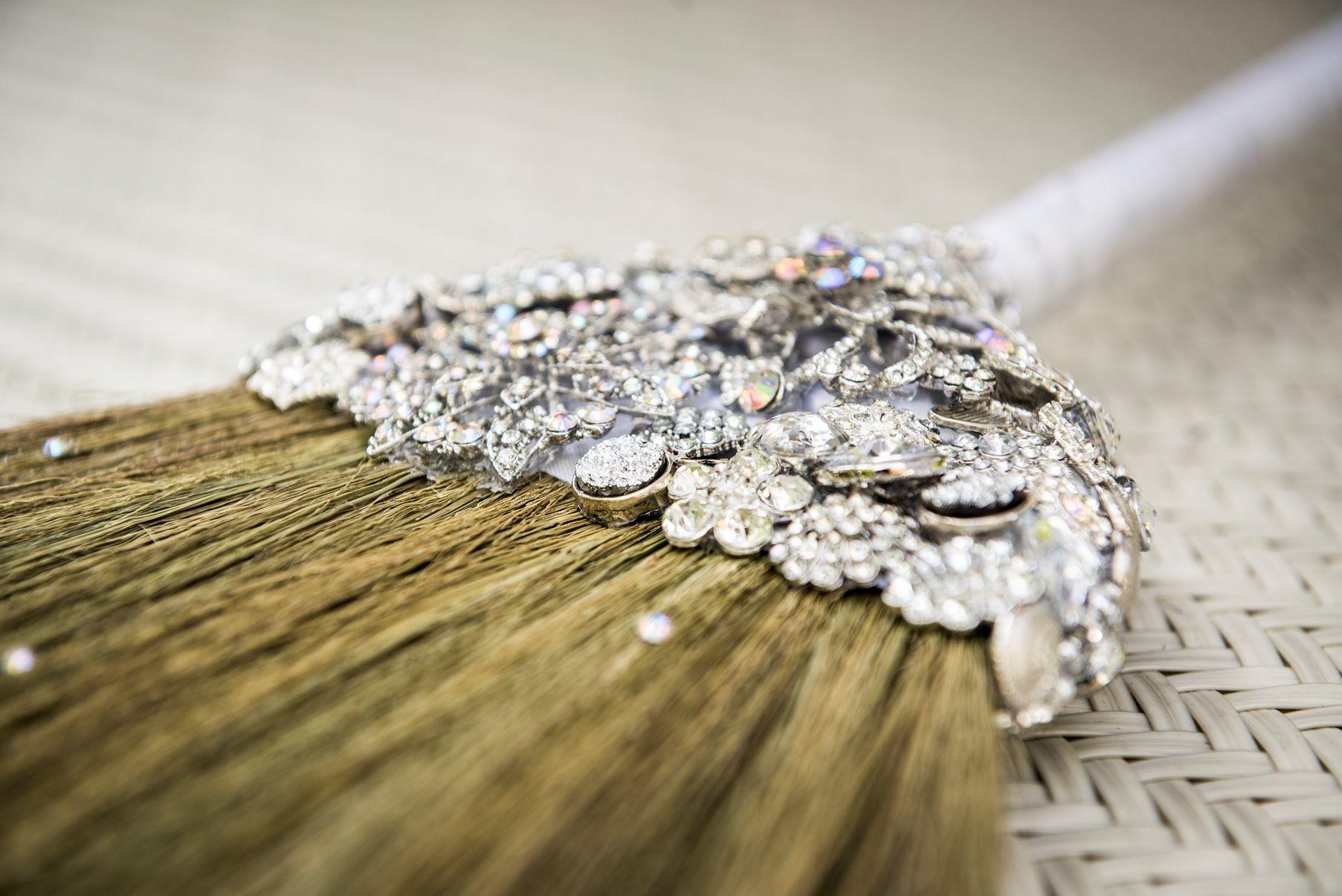 The 'Sarah O' Jeweled Wedding Jumping Broom. Love Is