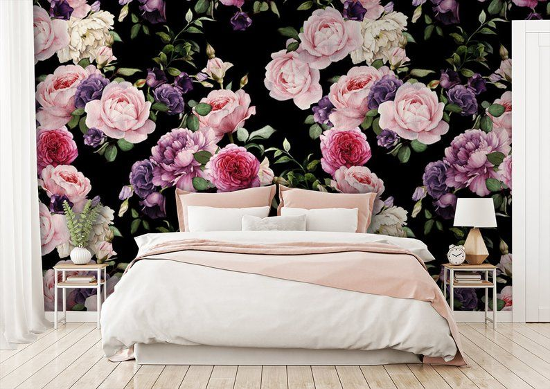 Purple And Pink Flowers Wallpaper Floral Clipart Home Decor Etsy Pink Flowers Wallpaper Flower Wallpaper Floral Wallpaper
