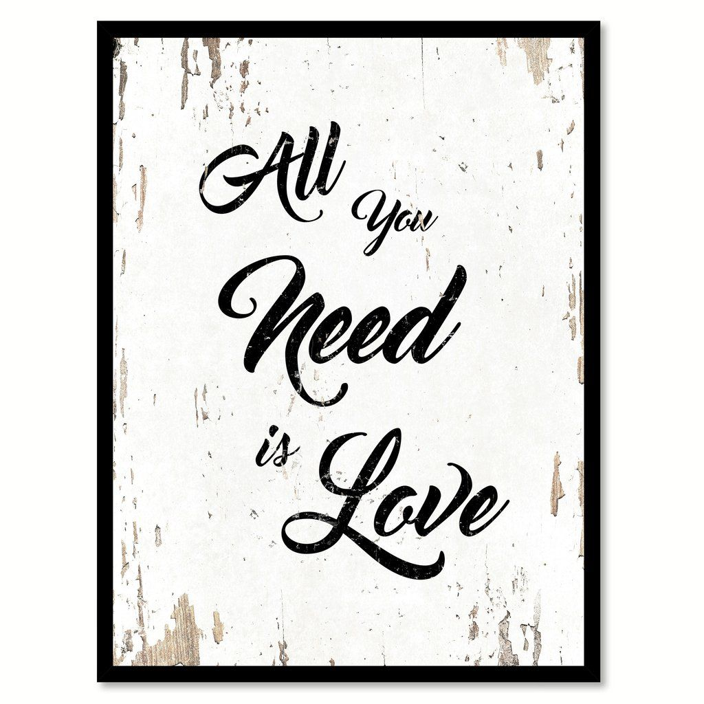 All you need is love happy love quote saying home decor wall art