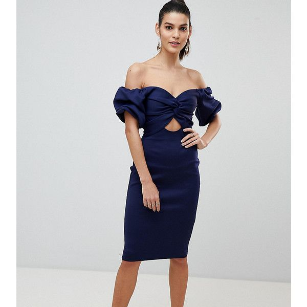 Off Shoulder Bodycon Midi Dress With Cut Out Front - Navy Flounce London GEZlmQ