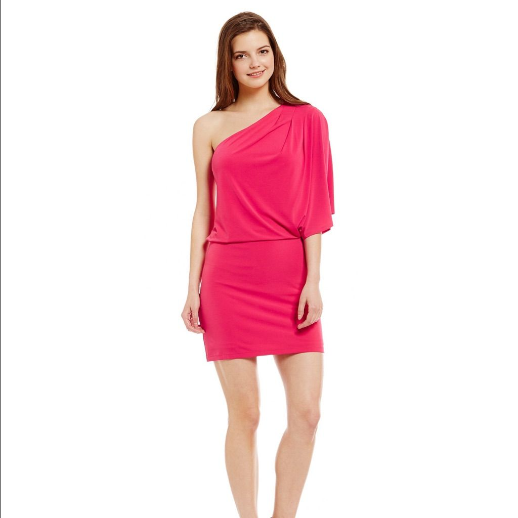 Jessica simpson coral pink one shoulder dress coral pink jessica