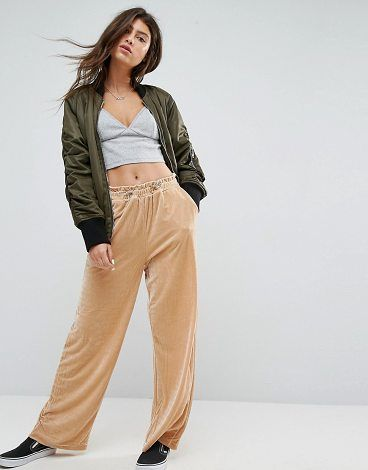 df7291e4c7eef5 Wide Leg Velvet Pants with Elastic Cord by Asos. Pants by ASOS Collection,  Soft-touch velvet, High-rise, Stretch cord waistband, Side pockets,  Wide-cut leg, ...