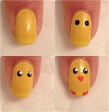 Yellow baby chick nails tutorial for spring or Easter.