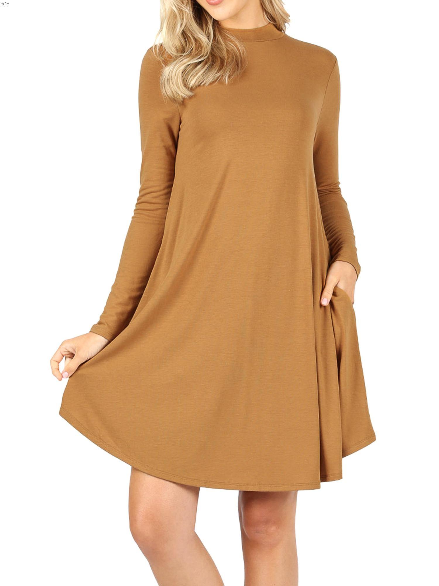 Womens Plus Mock Neck Long Sleeve Flared A Line Tunic Midi Dress With Pockets In 2020 Crewneck Dress Printed Sheath Dresses Midi Dress [ 2000 x 1500 Pixel ]
