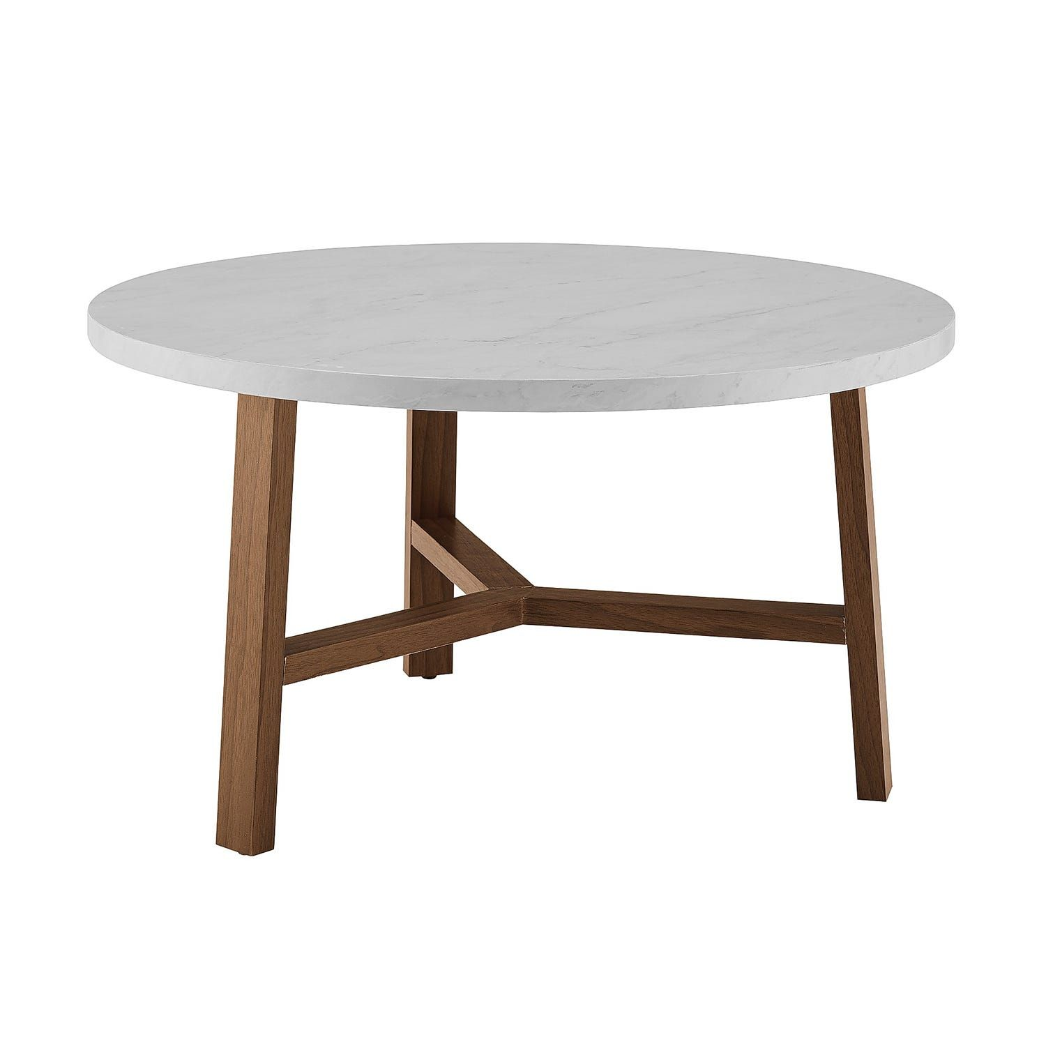 Modern White Faux Marble Light Oak Round Coffee Table In 2020
