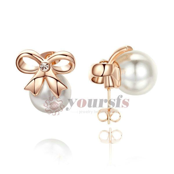 Womens Pearl Jewelry 18k Rose Gold Plated Swarovski Crystal Bow Stud Earrings