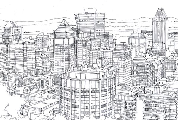 Montreal Cityscape Drawing Line Drawing Cityscape