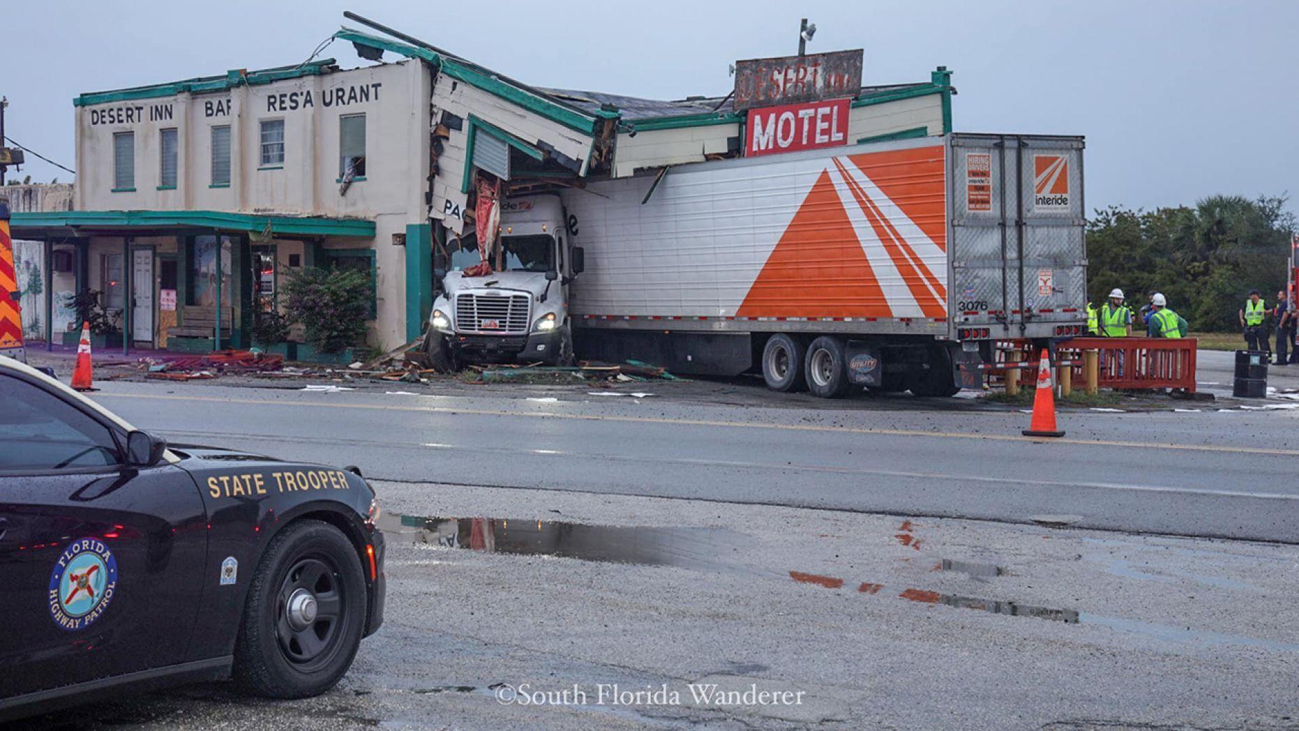 Semi truck crashed into the Desert Inn Restaurant in