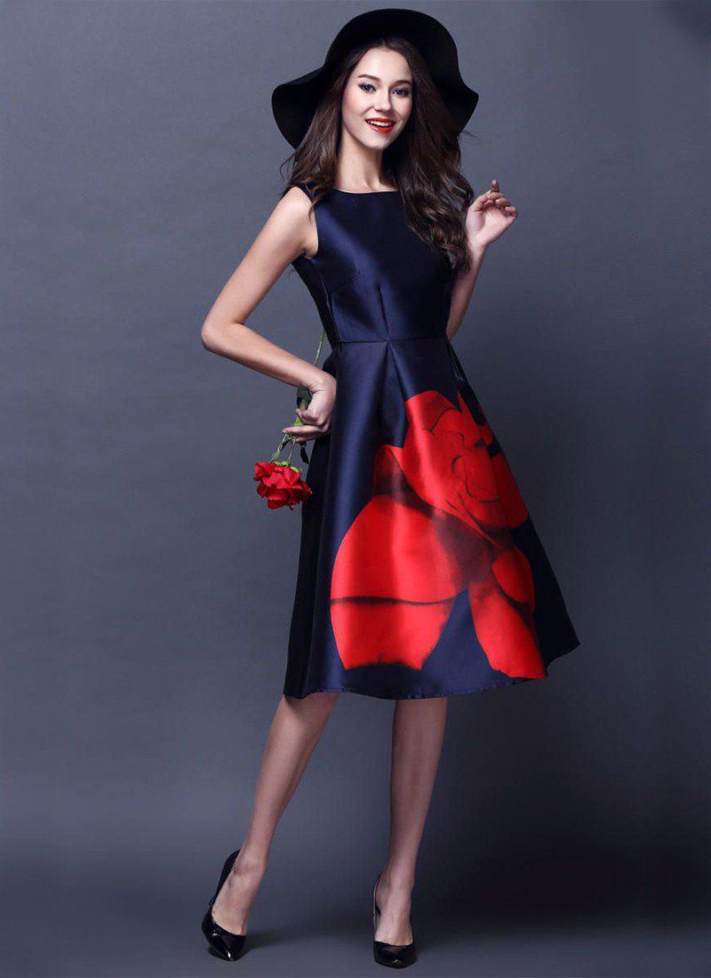 d108f7a92ea125 New Dark Blue with Red Flower Print Polyester Designer Western Dress ...