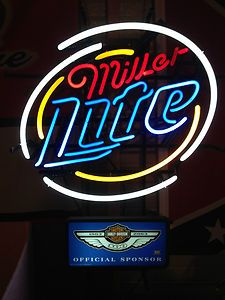 100th Anniversary Harley Davidson Miller Lite Neon Beer Sign Rare